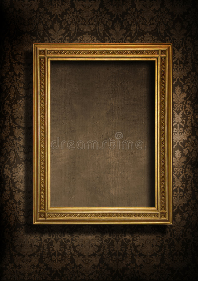 Grungy wall and frame. Dark, grungy wall with Victorian wallpaper and gold frame stock image