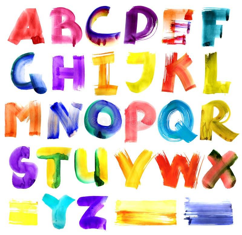 Grungy watercolor alphabet stock illustration