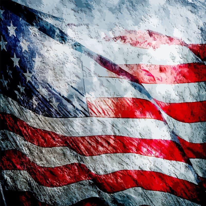 Grungy Weinlese der amerikanischen Flagge gemasert lizenzfreie abbildung