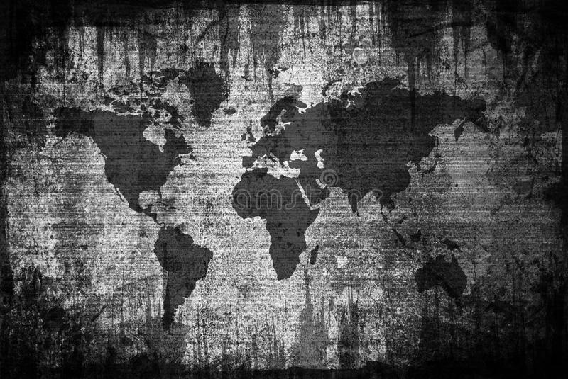 Grungy Weltkarte lizenzfreie abbildung