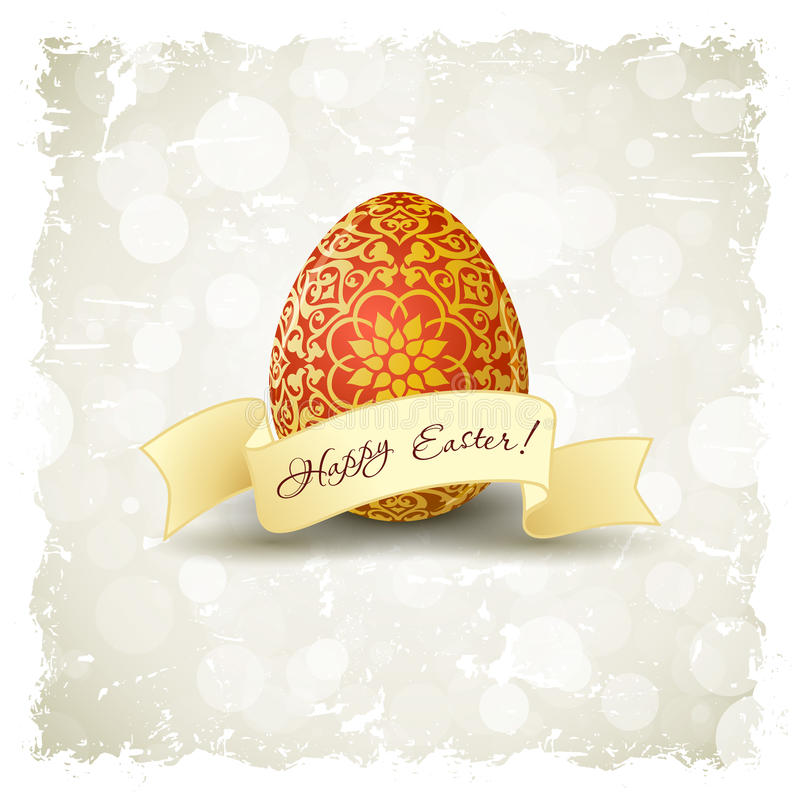 Grungy Wielkanocny tło z Dekorującym jajkiem ilustracja wektor