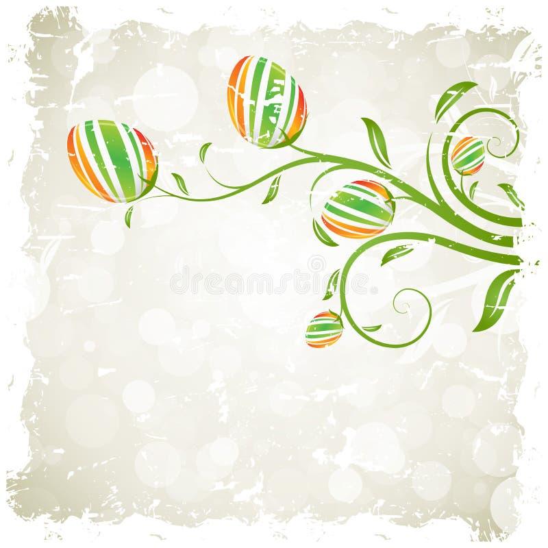 Grungy Wielkanocny tło z Dekorującymi jajkami ilustracja wektor