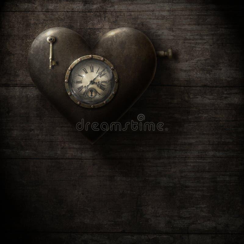 Heart Clock, grungy steampunk style stock illustration