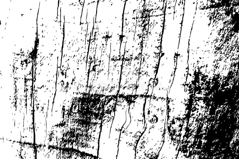 Grungy wooden texture. Rough timber black and white texture. Distressed hardwood structure. royalty free illustration