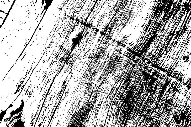 Grungy wooden texture. Rough timber black and white texture. Weathered hardwood surface. Obsolete timber structure. Natural lumber grit and scratch. Aged worn stock illustration