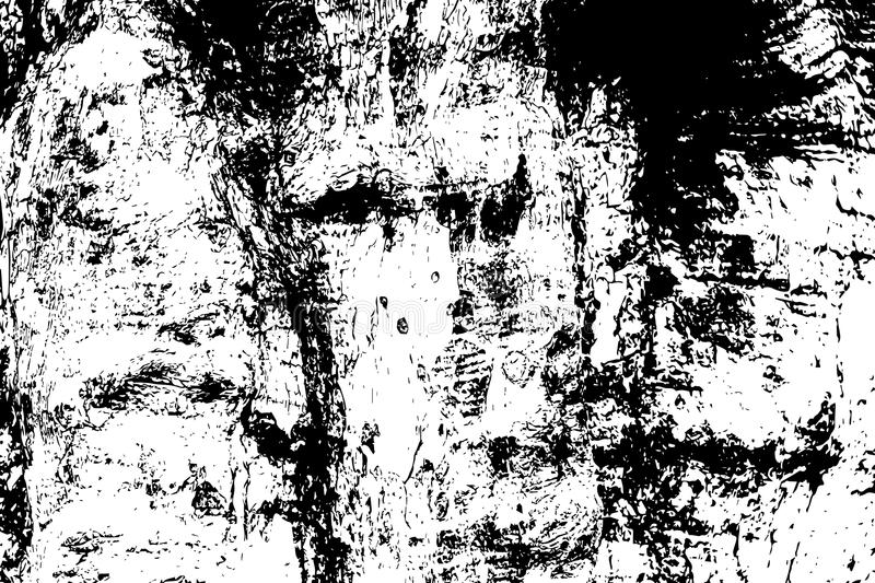 Grungy wooden texture. Weathered timber black and white texture. Rough tree bark surface. stock illustration