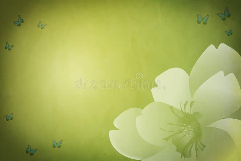 Grungy zielony wiosny tło z kwiecistym motywem ilustracji