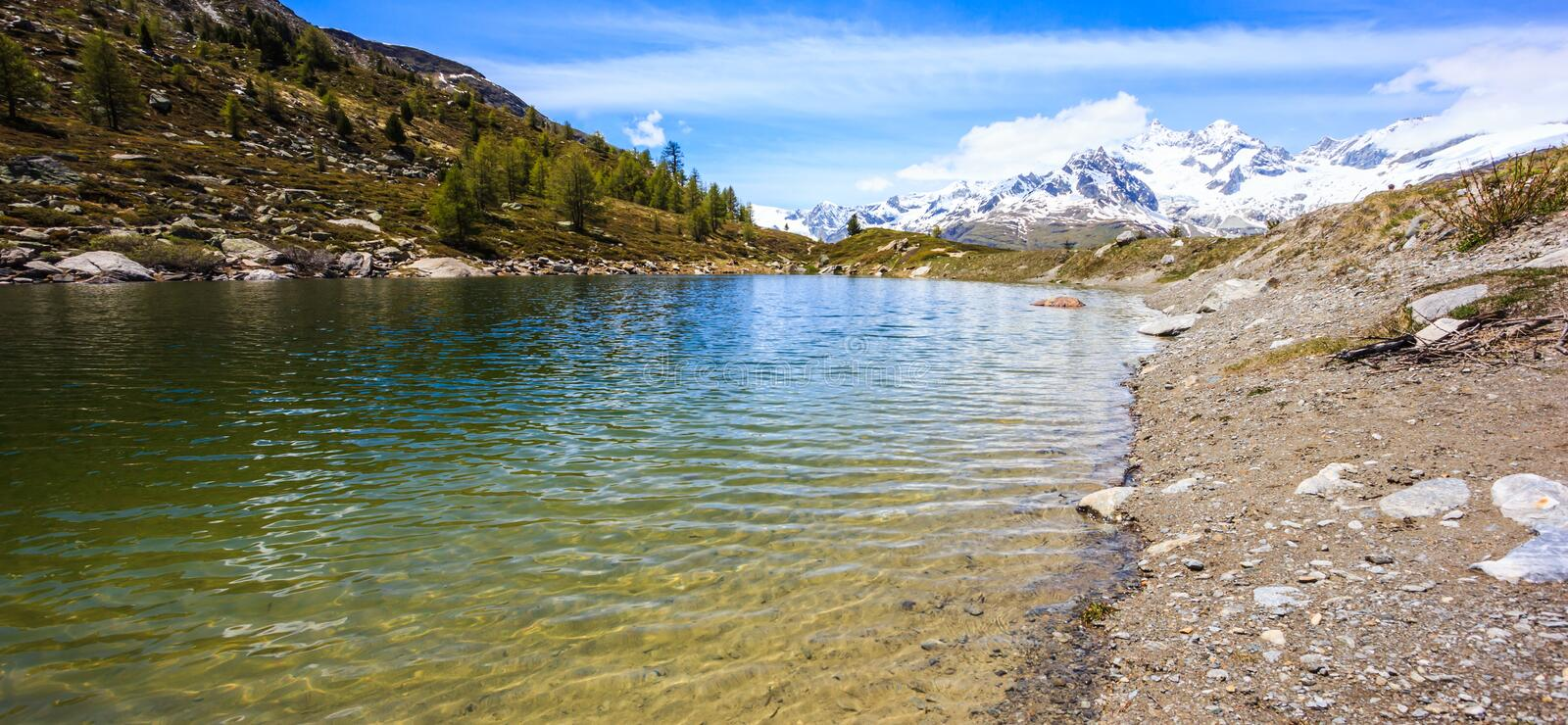 Grunsee Lake, one of top five lakes destination around Matterhorn Peak in Zermatt, Switzerland, Europe stock photography