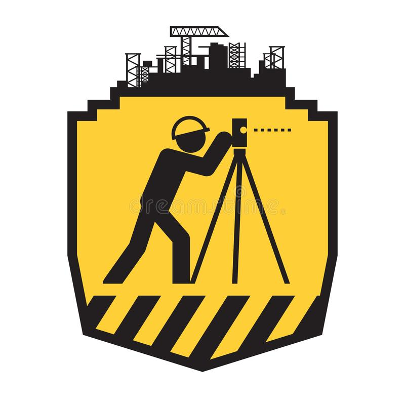 Gruntowa geodeta ikona ilustracji