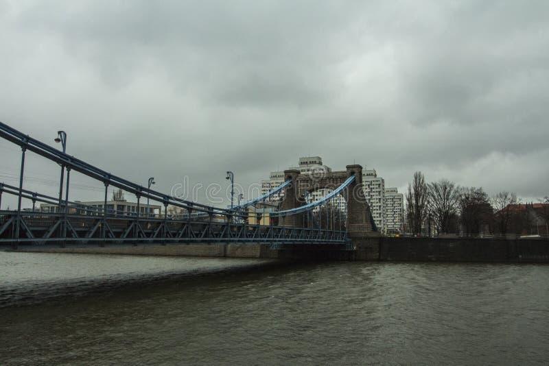 The Grunwald Bridge in cloudy weather in Wroclaw. Poland.  stock photo