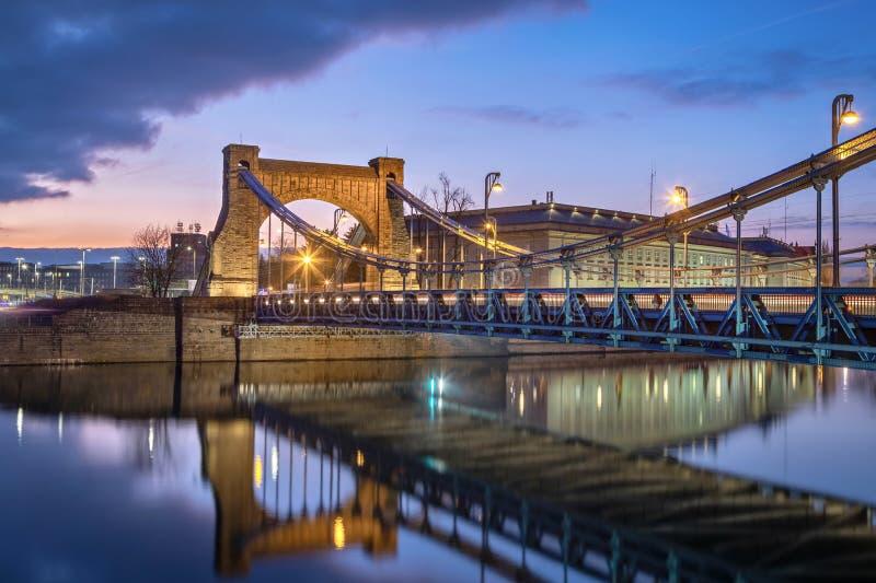 Grunwald Bridge at dusk in Wroclaw, Poland stock photos
