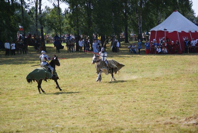 Grunwald, Polonia - 2009-07-18: Cavalieri montati fotografia stock libera da diritti