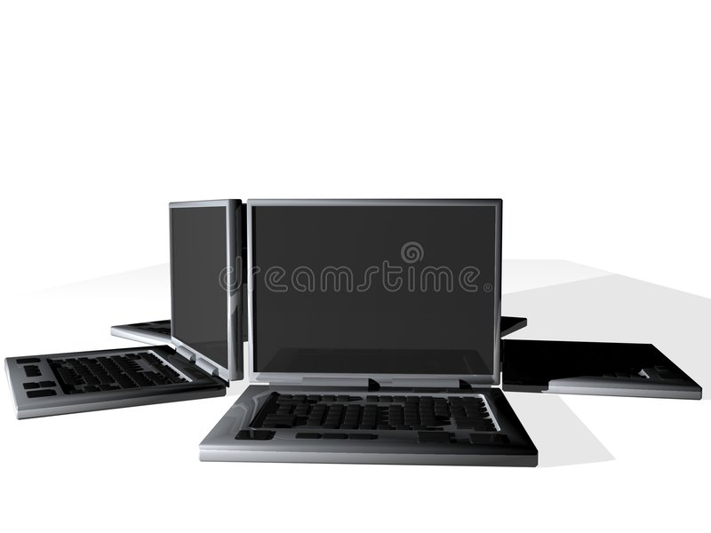 Gruop of laptops vector illustration