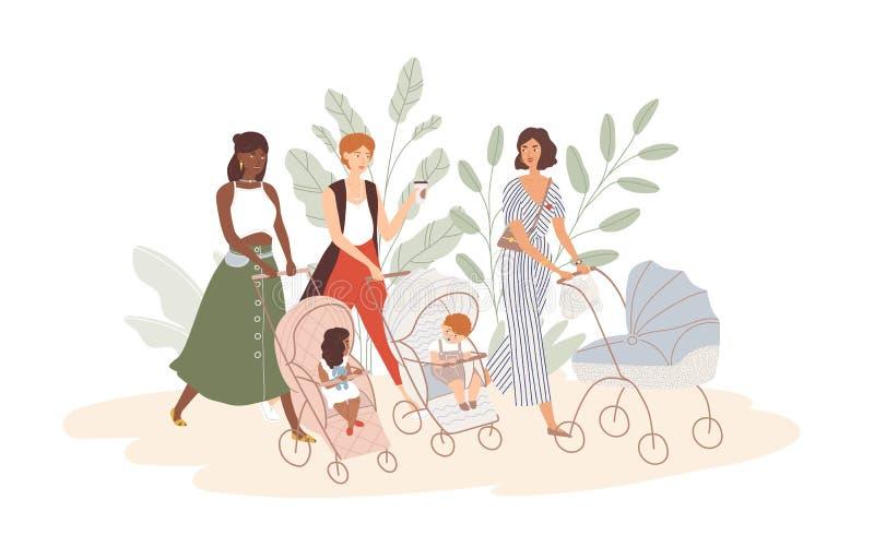 Grupa śliczne kobiety z dziećmi w prams i spacerowiczach Mamy chodzi z ich dziecięcymi dziećmi Społeczność potomstwa ilustracja wektor