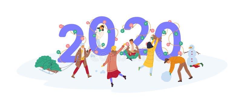 Grupa śliczni szczęśliwi malutcy ludzie świętuje nowego roku, niesie świerkowego drzewa i robi bałwanowi blisko giganta 2020 licz royalty ilustracja