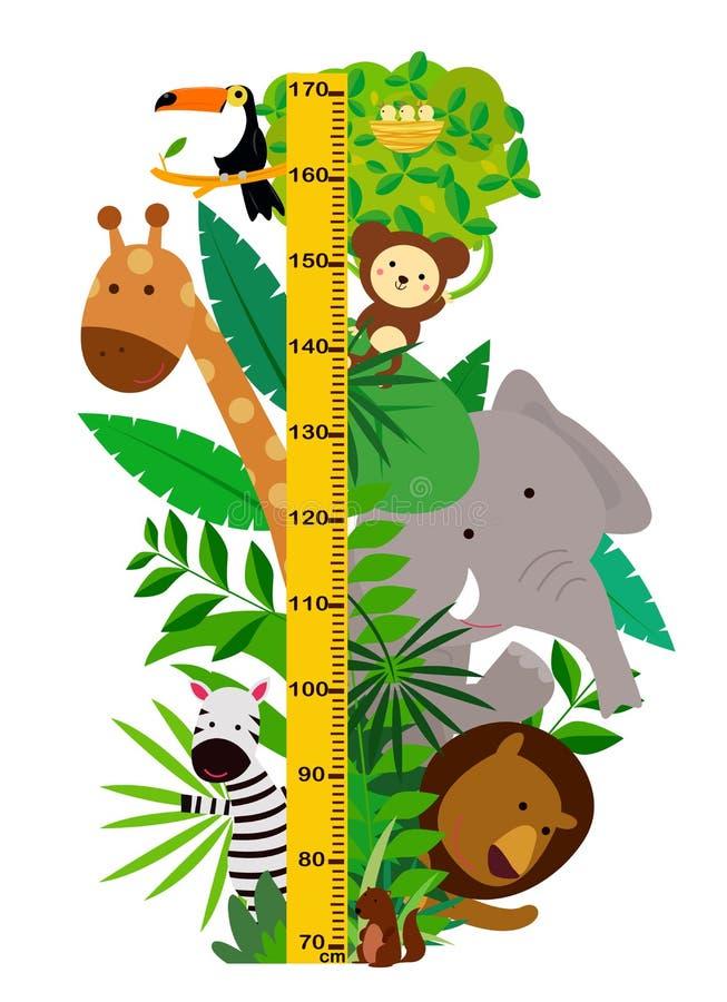 Grupa śliczni zwierzęta Metr ściana lub wzrost mapa ilustracja wektor