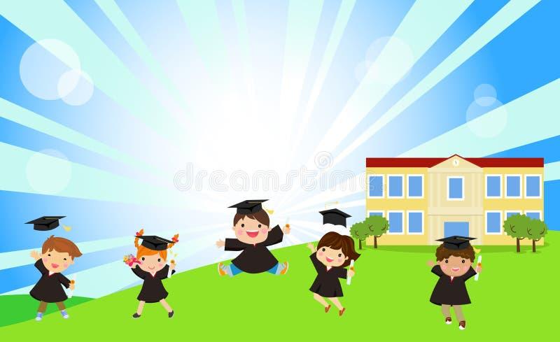 Grupa śliczny dzieci skakać ilustracja wektor