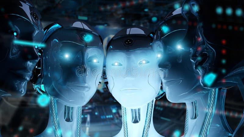 Grupa żeńscy roboty blisko do each inny cyborga wojska pojęcia 3d rendering ilustracji