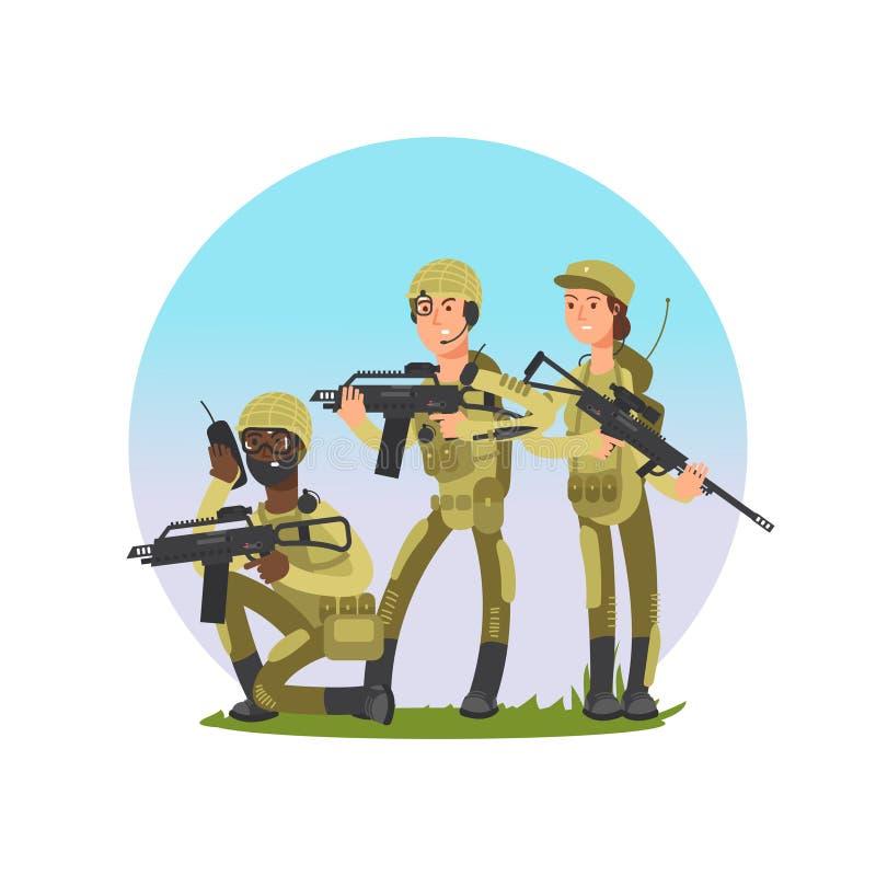 Grupa żołnierza wektoru ilustracja Militarny samiec i kobiety postać z kreskówki royalty ilustracja