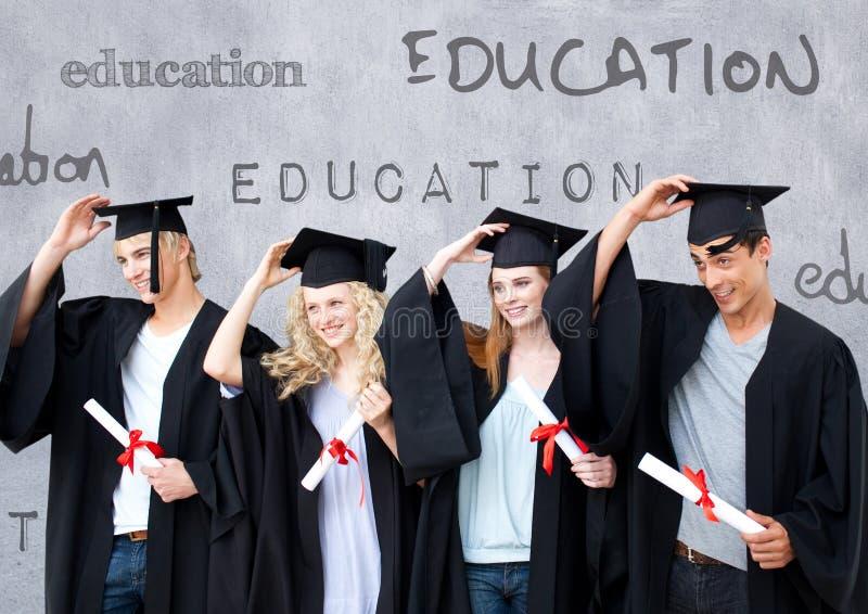 Grupa absolwenci stoi przed edukacja tekstem ilustracja wektor