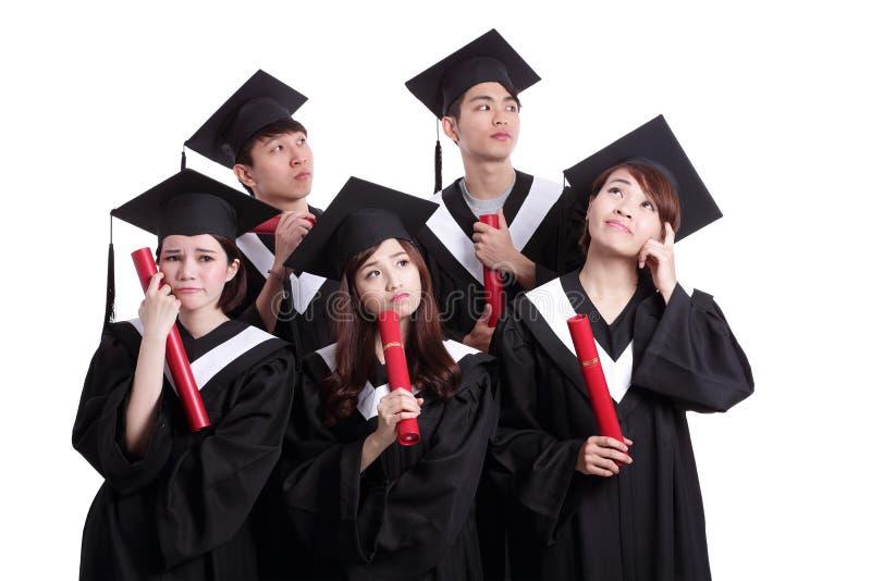 Grupa absolwenta ucznia myśl zdjęcia royalty free