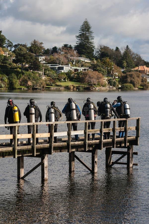 Grupa akwalungów nurkowie na drewnianym jetty obrazy royalty free