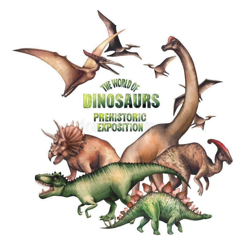 Grupa akwarela dinosaury ilustracja wektor