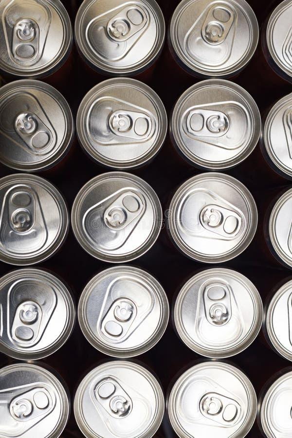 Grupa aluminiowe puszki z piwem lub sodą obraz royalty free