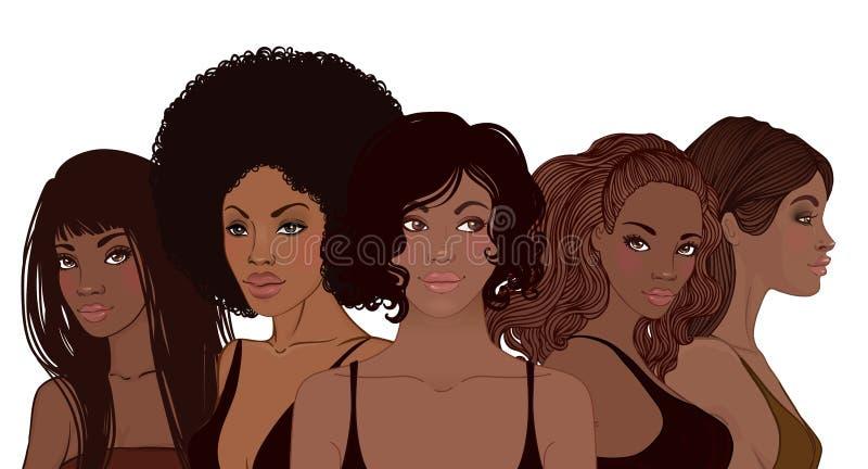 Grupa amerykanin afrykańskiego pochodzenia ładne dziewczyny Żeński portret Czarny b royalty ilustracja