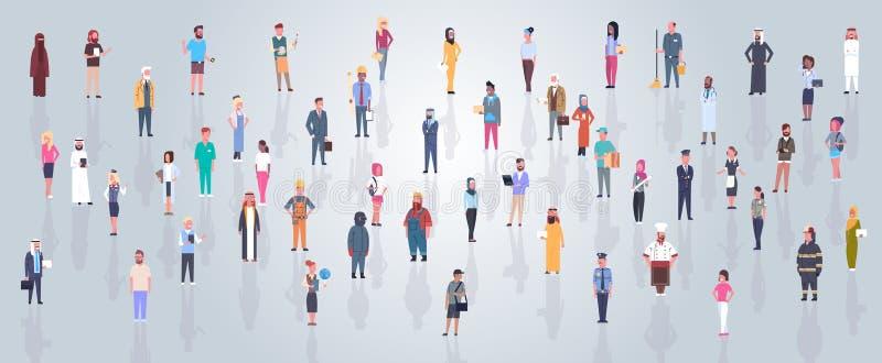 Grupa Arabscy ludzie Jest ubranym Tradycyjni ubrania Folującego długość Biznesowego mężczyzna, Arabskiego kobieta tłum, Muzułmańs ilustracji
