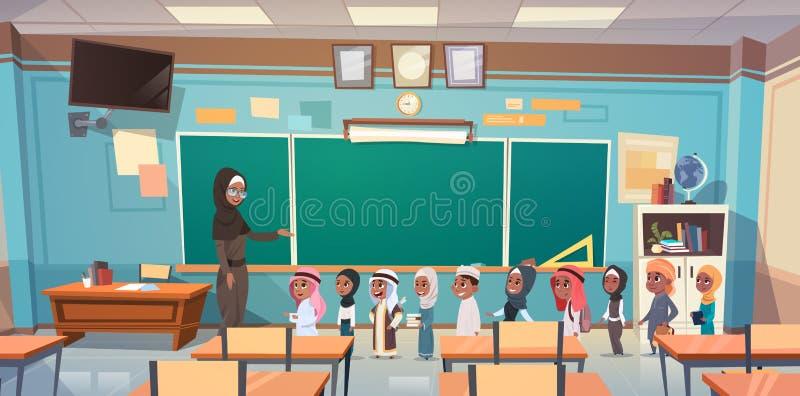 Grupa Arabscy ucznie Z nauczycielem W sala lekcyjnej Na Lekcyjnym edukaci pojęciu royalty ilustracja