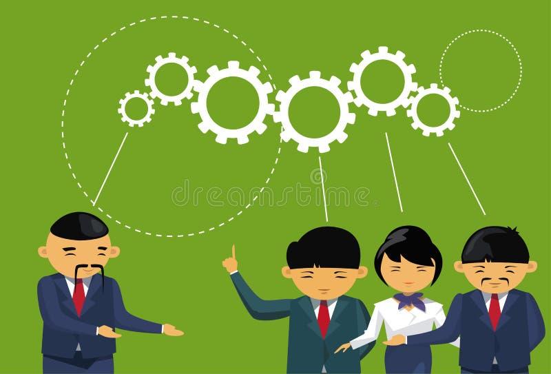 Grupa Azjatyccy ludzie biznesu Brainstorming spotkania Cog koła tła drużyny Myśleć Nowych pomysły ilustracji