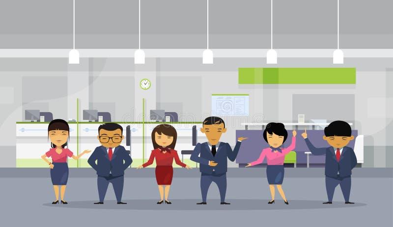 Grupa Azjatyccy ludzie biznesu Jest ubranym kostiumy W Nowożytnym biurze, Koreańska biznesmenów pracowników drużyna ilustracja wektor