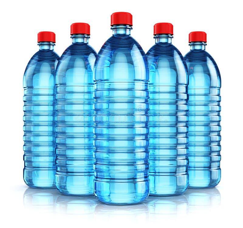 Grupa błękitni plastikowi napojów bidony ilustracja wektor