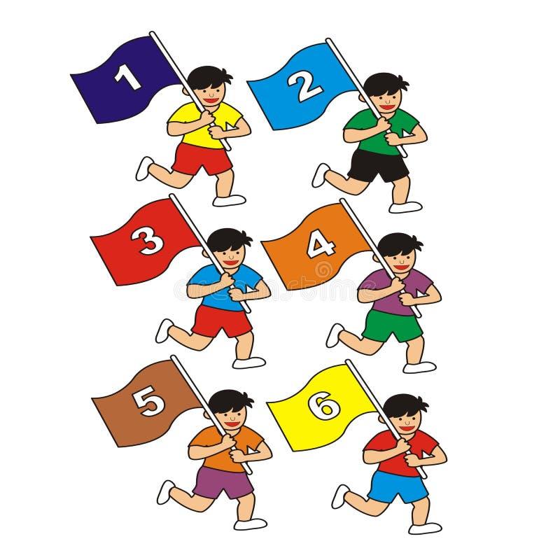 Grupa biegająca dzieci macha liczbę zaznacza podczas gdy ilustracji