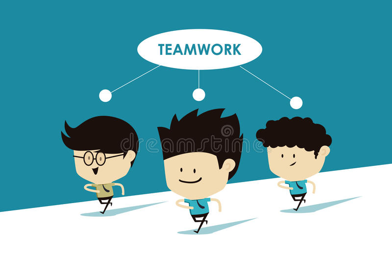Grupa biegająca z pracą zespołową biznesowy mężczyzna royalty ilustracja