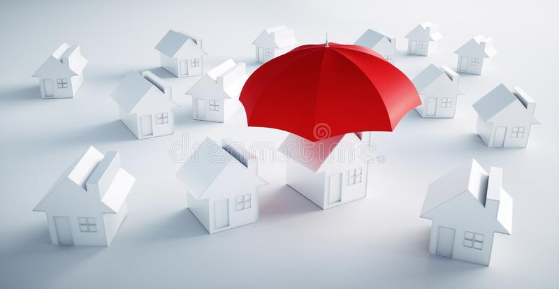 Grupa biel domy z jeden parasolem ilustracja wektor