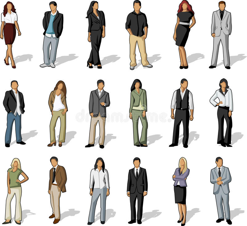 Grupa biznes i biurowi ludzie royalty ilustracja