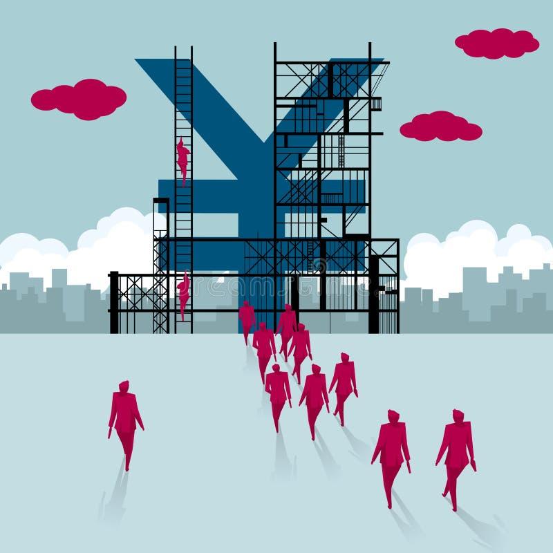 Grupa biznesmeni chodził w kierunku chińskiego Juan symbolu buduje ilustracja wektor