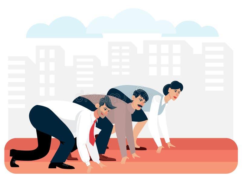 Grupa biznesowi koledzy przygotowywa bieg rasa dla przywódctwo wektoru ilustracji ilustracja wektor