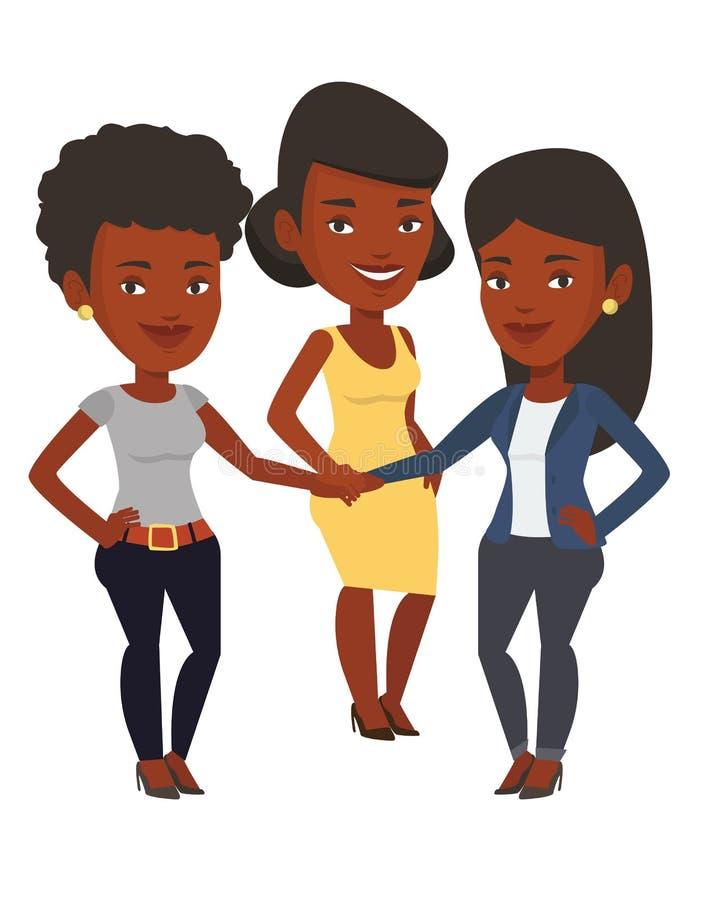 Grupa bizneswomany łączy ręki ilustracja wektor
