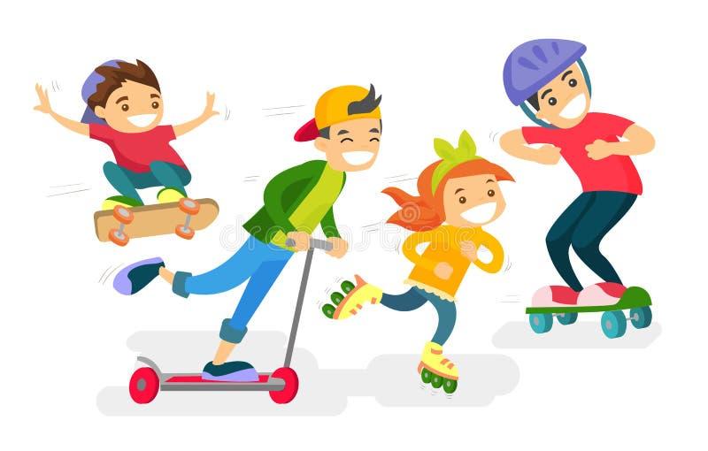 Grupa caucasian biali dzieci bawić się wpólnie ilustracji
