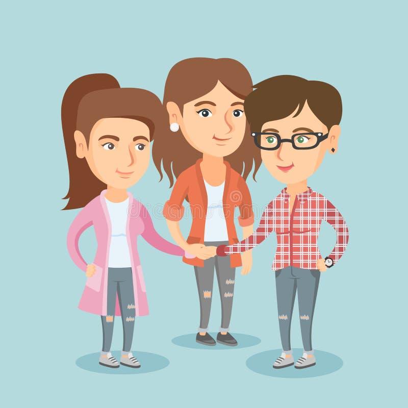 Grupa caucasian biznesowe kobiety łączy ręki ilustracji