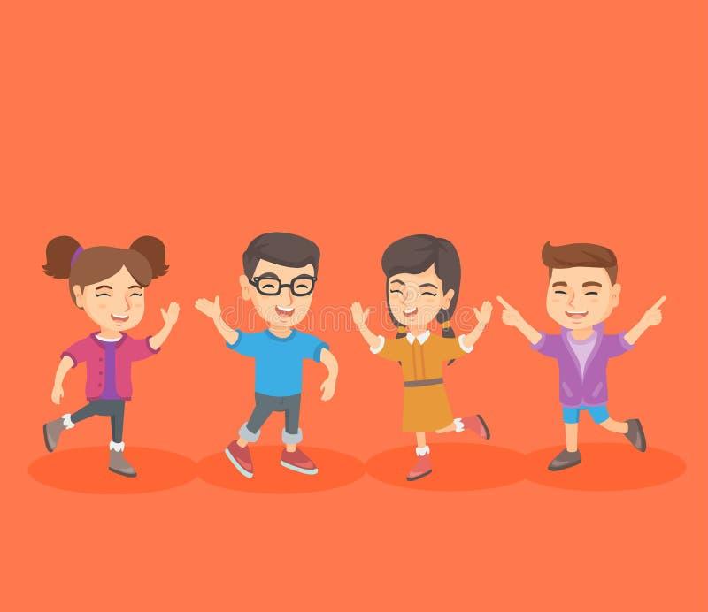 Grupa caucasian dzieci skacze i tanczy ilustracji