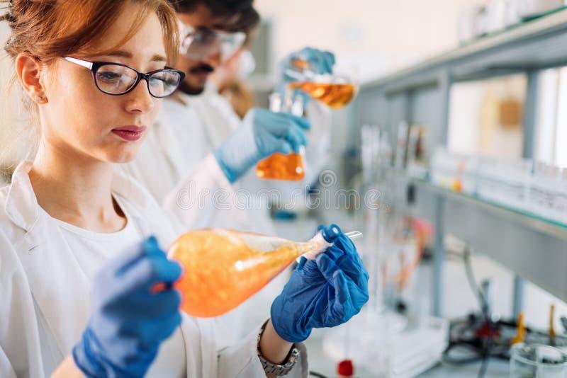 Grupa chemia ucznie pracuje w laboratorium zdjęcia royalty free
