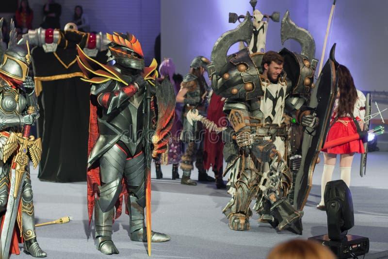 Grupa cosplayers poza podczas cosplay konkursu przy Animefest obrazy royalty free