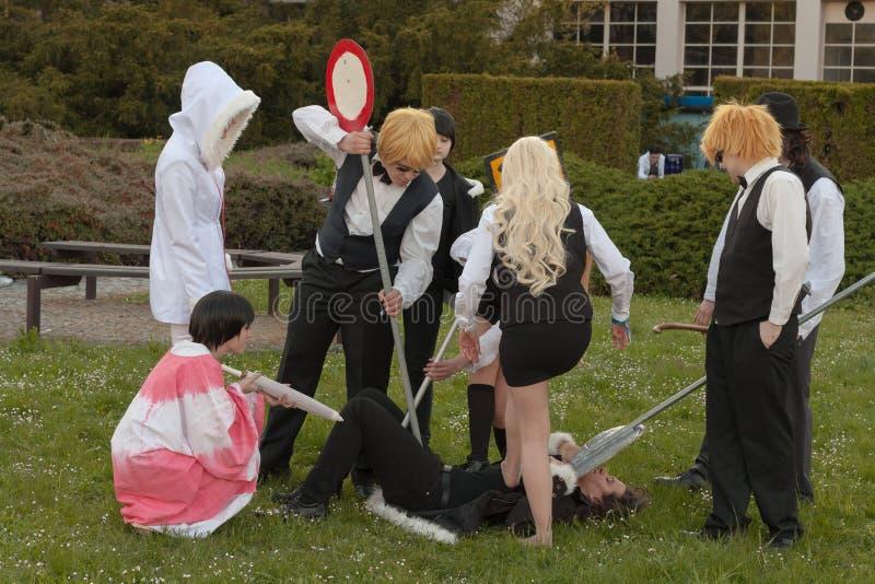 Grupa cosplayers pozy przy Animefest zdjęcie royalty free