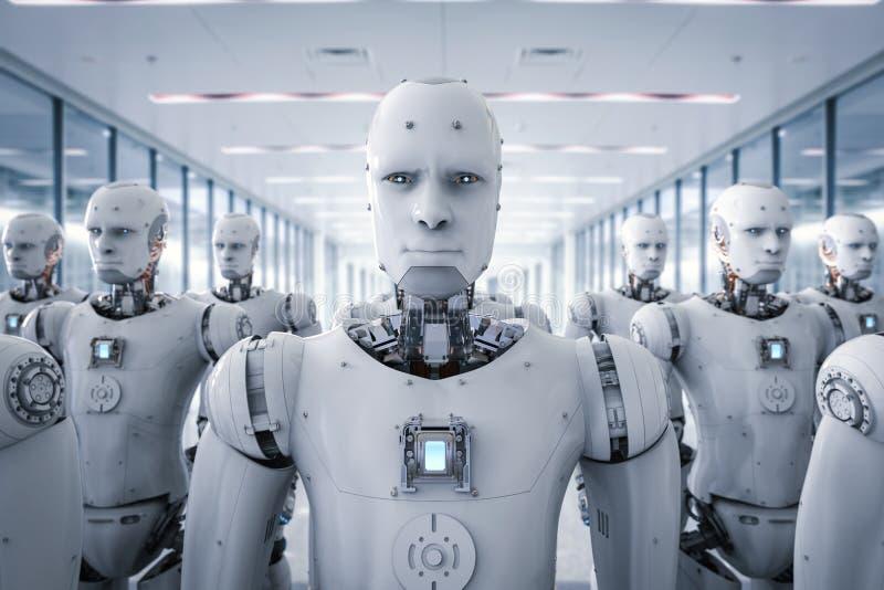 Grupa cyborgi w fabryce royalty ilustracja