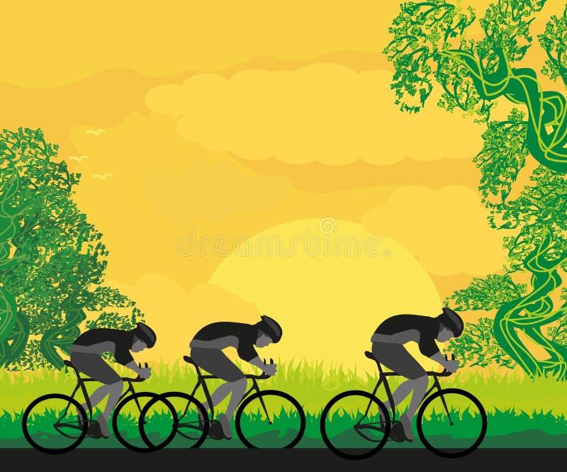 Grupa cykliści ilustracji
