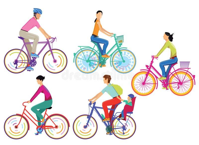 Grupa cykliści ilustracja wektor